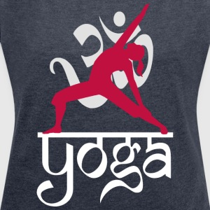 Yoga OM Reverse Warrior Pose - Women's T-shirt with rolled up sleeves