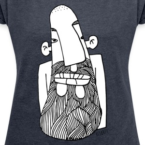 Beard Face - Women's T-shirt with rolled up sleeves