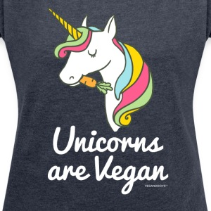Unicorns Are Vegan - Women's T-shirt with rolled up sleeves