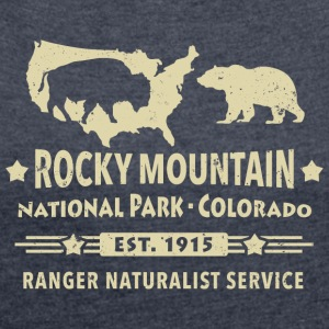 Bison Grizzly Rocky Mountain National Park Berg - T-shirt med upprullade ärmar dam