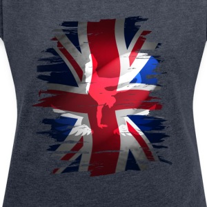 Union Jack britain flag Stunt England destroyed ro - Frauen T-Shirt mit gerollten Ärmeln