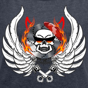 Skull Wings Flames horns flask glasses - Women's T-shirt with rolled up sleeves