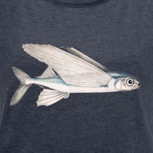 Schwalbe fish (flying fish) - Women's T-shirt with rolled up sleeves