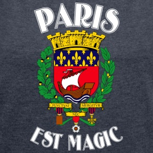 Paris Is Magic Blue - Frauen T-Shirt mit gerollten Ärmeln
