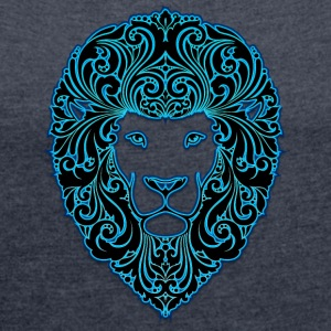 lion with ornament hairs 2 black neon - Women's T-shirt with rolled up sleeves
