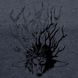 Wolf_Geweih_SW - Women's T-shirt with rolled up sleeves