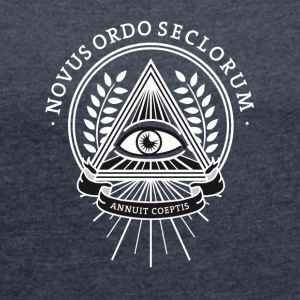 illuminati, conspiracy eye pyramid secret society - Women's T-shirt with rolled up sleeves
