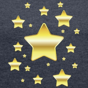 Golden star - Women's T-shirt with rolled up sleeves