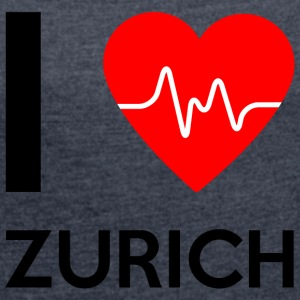 I Love Zurich - I love Zurich - Women's T-shirt with rolled up sleeves