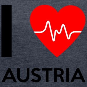 I Love Austria - I Love Austria - Women's T-shirt with rolled up sleeves