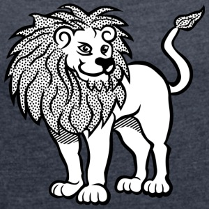 Lion black and withe - Women's T-shirt with rolled up sleeves