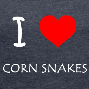 I Love CornSnakes - Women's T-shirt with rolled up sleeves