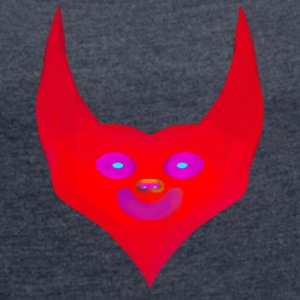 heart horns devil satan abstract - Women's T-shirt with rolled up sleeves