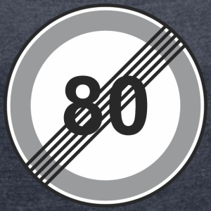 Road Sign 80 restriction - Women's T-shirt with rolled up sleeves