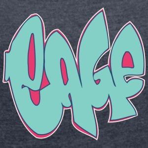 cage graffiti blue - Women's T-shirt with rolled up sleeves