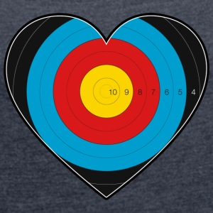 Heart Archery - I love archery - Women's T-shirt with rolled up sleeves