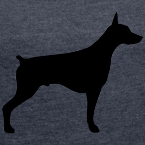 doberman - Women's T-shirt with rolled up sleeves