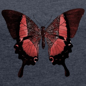 Red flying butterfly, butterfly, butterfly - Women's T-shirt with rolled up sleeves