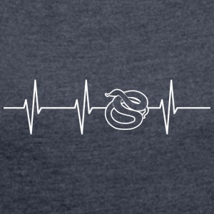 My heart beats for snakes - Women's T-shirt with rolled up sleeves