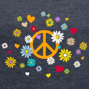 Peace Sign Flower Heart Flower Child Valentine - Women's T-shirt with rolled up sleeves