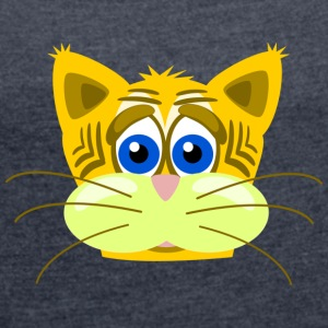 Cute cat - Women's T-shirt with rolled up sleeves