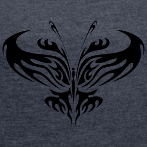 Tribal Tattoo Butterfly - Women's T-shirt with rolled up sleeves
