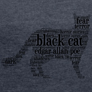 black cat edgar allan poe word cloud - Women's T-shirt with rolled up sleeves