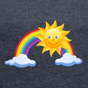 Sun, rainbow, clouds - Women's T-shirt with rolled up sleeves