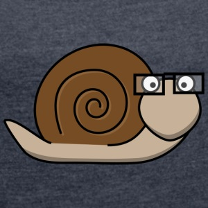 Brown snail - Women's T-shirt with rolled up sleeves