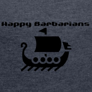 Happy Barbarians - Viking Ship Logo - Women's T-shirt with rolled up sleeves