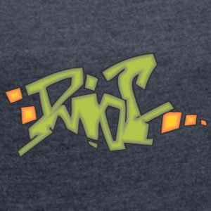 riot graffiti - Women's T-shirt with rolled up sleeves