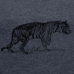 Tiger Black and withe - Women's T-shirt with rolled up sleeves