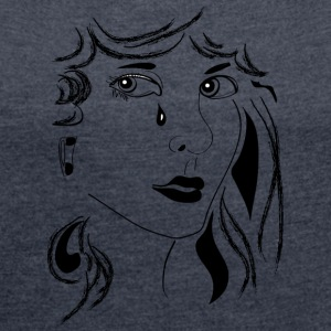 Woman sad - Women's T-shirt with rolled up sleeves
