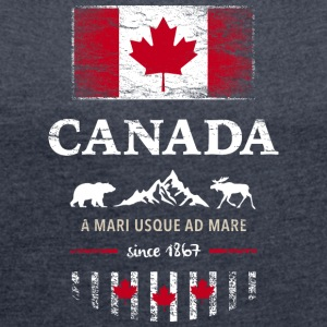 Canada Canada America maple leaf flag banner Bear - Women's T-shirt with rolled up sleeves