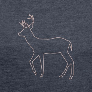 Silhouette of deer - Women's T-shirt with rolled up sleeves