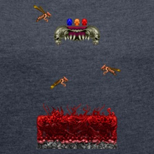 Pixelart Horror Game Scene - Women's T-shirt with rolled up sleeves