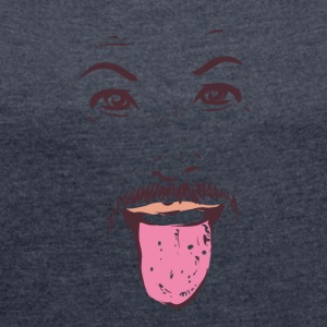 Man showing tongue 01 - Women's T-shirt with rolled up sleeves