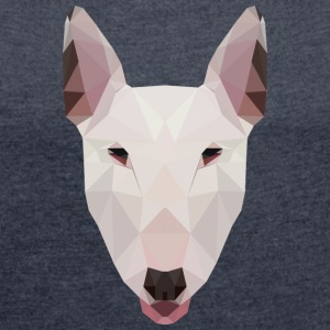 English Bull Terrier Artwork - Women's T-shirt with rolled up sleeves