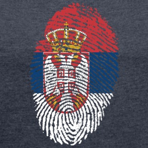 SERBIA 4 EVER COLLECTION - Frauen T-Shirt mit gerollten Ärmeln