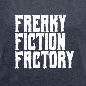 Freaky Fiction Factory Offical logovit - T-shirt med upprullade ärmar dam