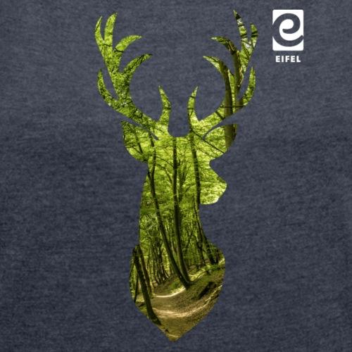 Eifel-Hirsch - Frauen T-Shirt mit gerollten Ärmeln