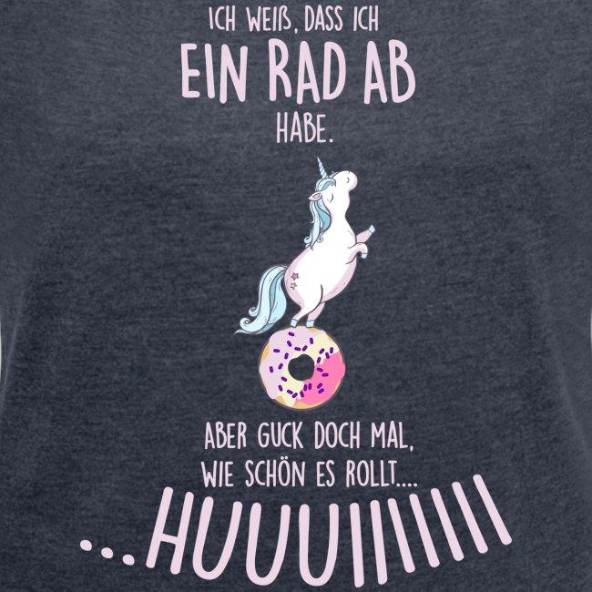Vorschau: rad ab_einhorn - Frauen T-Shirt mit gerollten Ärmeln