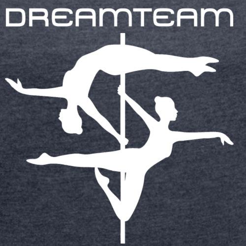 Poledance Double - Frauen T-Shirt mit gerollten Ärmeln