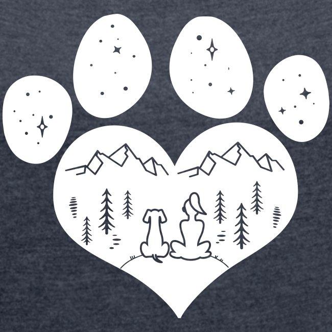 Vorschau: dog girl outdoor pawheart - Frauen T-Shirt mit gerollten Ärmeln