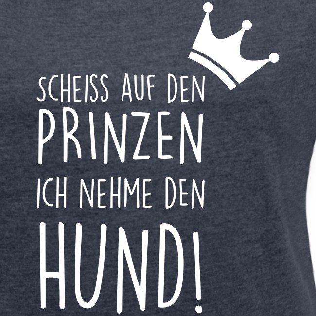 Vorschau: Prinz Hund - Frauen T-Shirt mit gerollten Ärmeln