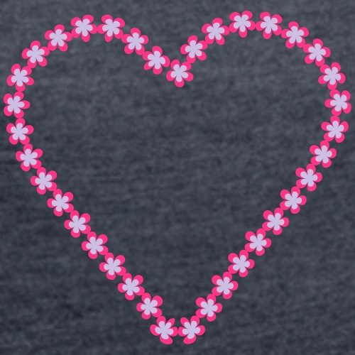 Love flower - Vrouwen T-shirt met opgerolde mouwen