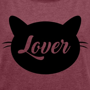 Cat lover - Women's T-shirt with rolled up sleeves