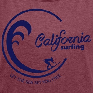 California Surfing 03 - Women's T-shirt with rolled up sleeves