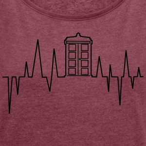 Heartbeat Tardis - Women's T-shirt with rolled up sleeves