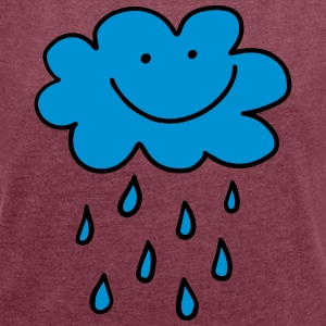 Funny cloud with raindrops, weather, spring, water - Women's T-shirt with rolled up sleeves